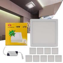 Kit 10 Painel Plafon Luminária Led Quadrado Slim 18W 6000K Branco Frio Bivolt Sobrepor Gesso Sanca - Prime