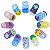Kit 10 Pares Meia Infantil Bebê Antiderrapante De Bichinhos - Neoimp