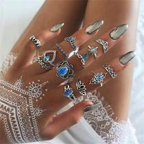 Kit 10 Peças Anel Midi Falange Vintage Jóias Para Mulheres Pedra Azul - Ip
