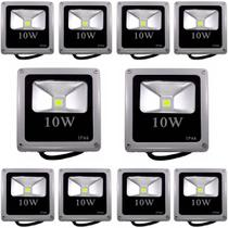 Kit 10 PeÇas - Holofote Refletor Led 10w Branco Frio 6500k Bivolt - Powerxl