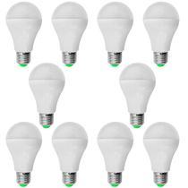 Kit 10 Peças - Lâmpada LED Bulbo 9W Branco Frio Rosca E27 Bivolt 90 Economia - Powerxl
