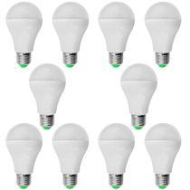 Kit 10 PeÇas - Lampada Led Bulbo PlÁstico 5w Bivolt Branco Frio 6500k - Powerxl