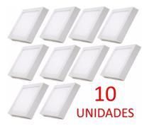 Kit 10 Peças Luminária Plafon Led Quadrado Sobrepor 18w Branco Frio 6500k - Redseg