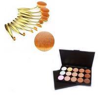 Kit 10 Pincéis Escova Oval Make Up MagicMake Cor Dourado + Paleta Base Corretivo Com 15 Cores - Magic Make