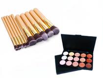 Kit 10 Pincéis Maquiagem Kabuki Dourado + Paleta Base Corretivo Com 15 Cores - Magic Make