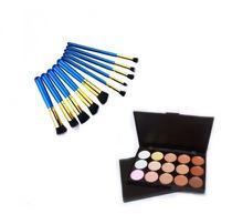 Kit 10 Pincéis Maquiagem Kabuki E Precisão Azul + Paleta Base Corretivo Com 15 Cores - Magic Make