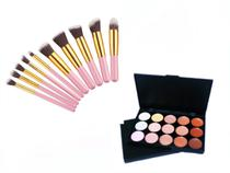 Kit 10 Pincéis Maquiagem Kabuki Rosa + Paleta Base Corretivo Com 15 Cores - Magic Make