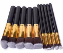 Kit 10 Pinceis Para Maquiagem Kabuki Preto Com Dourado - Shoopweb