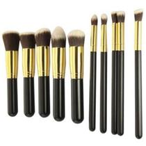 Kit 10 Pinceis Para Maquiagem Kabuki Preto Com Dourado - Xd
