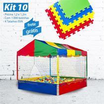 KIT 10 - Piscina 1,20m com 1.000 Bolinhas + 4 Tatames EVA - Lacuca Brinquedos