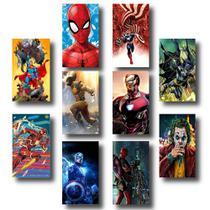 Kit 10 Placas Decorativas 19x28cm Heróis Marvel E Dc - Ofertmix