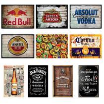 Kit 10 Placas Decorativas Tema Bebidas Beer Retro 19x28cm - OfertMix -