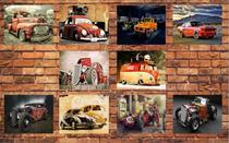 Kit 10 Placas Decorativas Tema Carros Retro 19x28cm - OfertMix -