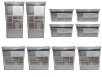 Kit 10 Potes Hermético Retangular Transparente 580 ml 1300 ml 2600 ml Acrílico Empilhável Jogo Lumin - Lumini