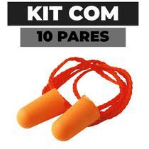 Kit 10 Protetor Auditivo Espuma 3M  com Cordão 16db -