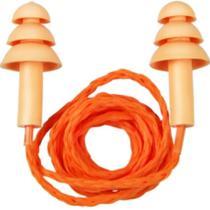 Kit 10 Protetores Auricular de Silicone com Cordão Laranja - Protetor Auricular