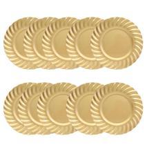 Kit 10 Sousplat Redondo Borda Waves Dourado Polipropileno 33 cm Ondas Mesa Posta Chique - Yazi