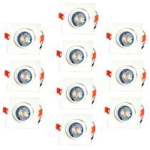 Kit 10 Spot Led Direcionável Quadrado 5W Branco Morno Bivolt - Inluss