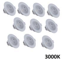 Kit 10 Spot Led Redondo Embutir 5W 3000K Branco Quente Direcionável - Startec & Co.