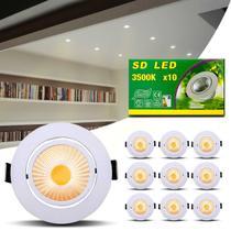 Kit 10 Spot Super LED COB 7W Redonda Direcionável 3500K Amarelo Bivolt Alumínio Embutir Gesso Sanca - Kit Iluminação