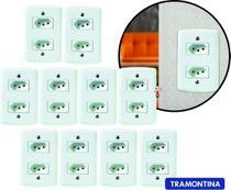 Kit 10 Tomadas Duplas Tramontina 10a Completas C/ placas branca Lux2 -