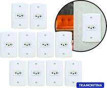 Kit 10 Tomadas Tramontina 10a Completas C/ Placa Branca Modelo Lux2 -