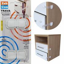 Kit 10 Travas Segurança Gaveta Multiuso Branco / Incolor - Zabcon