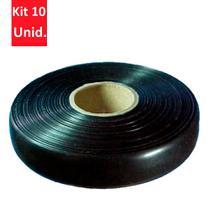 Kit 10 Unidades - Fita de PVC Preta Sem Cola 30m - DNI 5032 -