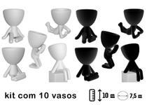 Kit 10 Vasinhos Branco e preto Suculentas Robert Bbb Bob Planta Decoração - Marxgreg 3D