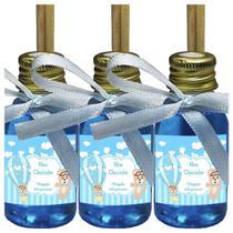 Kit 100 Lembrancinhas Maternidade - Ursinho Menino Arte Fixa 30ml MBA Fita Azul Claro - ClickStock
