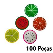 Kit 100 Porta Copos Formato De Fruta Suporte Descanso Modelos Sortidos - Universal Vendas