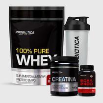 Kit 100% Pure Whey 825G + BCAA 2400 60 Tabletes + Creatina 100G + Coqueteleira Incolor Probiótica -