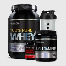 Kit 100% Pure Whey 900G + BCAA 2400 60 Tabletes + L-Glutamina 120G + Coqueteleira Incolor Probiótica -