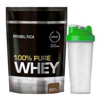Kit 100% Pure Whey Protein 825g Probiotica + Coqueteleira Verde 600ml Simples - Probiótica