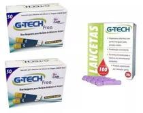 Kit 100- Tiras Fitas Free E 100- Lancetas Para Medição De Glicose - G-Tech