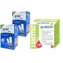 kit 100 Tiras Fitas  Lite + 100 Lancetas Para Medição De Glicose G Tech Lite - G-Tech
