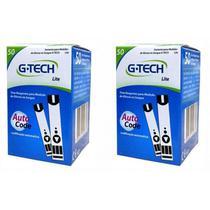 Kit 100 Tiras Reagentes G-tech Lite Teste De Glicemia -