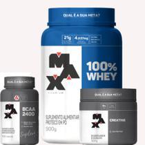 kit 100%whey 900g+creatina 150g+bcaa 100 capsulas max titanium -