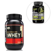 Kit 100% Whey Gold Standard - Optimum + L-Leucina 90 Cáps Military Trail - Midway USA - Optimum nutrition
