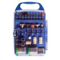 Kit 106 acessorios micro retifica esmeril universal para vidro gesso madeira ferro e plastico maleta - Makeda