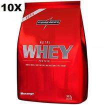 Kit 10X Nutri Whey Protein - 907g Refil Morango - IntegralMédica - Integral Médica