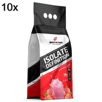 Kit 10X Whey Isolate Definition - 1800g Refil Merengue de Morango - BodyAction