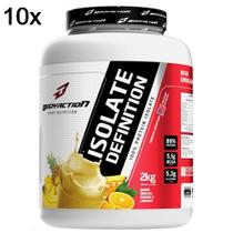 Kit 10X Whey Isolate Definition - 2000g Abacaxi, Banana, Laranja - BodyAction