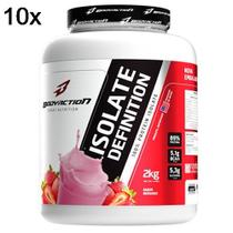 Kit 10X Whey Isolate Definition - 2000g Morango - BodyAction