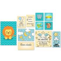 kit 11 quadros decoração para quarto do bebe placas decorativas infantil bem vindo baby nenem + fita dupla face - Inbox Decor