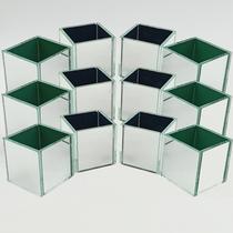 KIT 12 Cachepot Espelhado Quadrado Cubo 6cm 5001K12 LylHome -