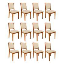 Kit 12 Cadeiras De Madeira Almofadada Sevilha Palha - Mel - Nina Mobilia