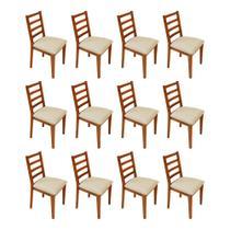 Kit 12 Cadeiras De Madeira Marselha Estofada Mel- Palha - Nina Mobilia