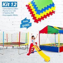 KIT 12 - Cama Elástica 3,66m + Piscina 1,5m com 1.500 Bolinhas + 4 Tatames EVA + Escorregador Médio - Lacuca Brinquedos