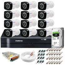 Kit 12 Câmeras de Segurança TF HD 720p 20m Infravermelho + DVR Intelbras + HD 1 TB -